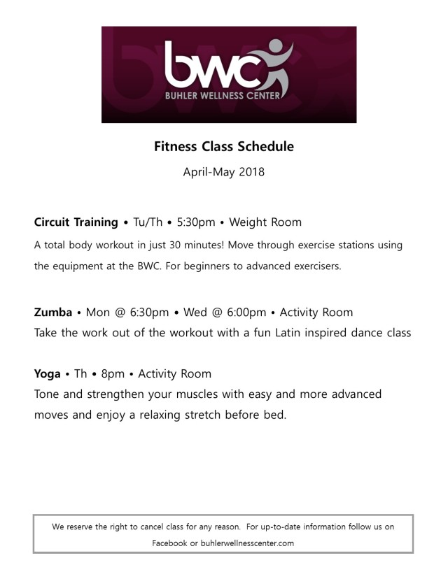 April 2018 class schedule